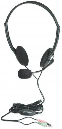 Manhattan 164429 Binaural Kopfband Schwarz - Silber Headset
