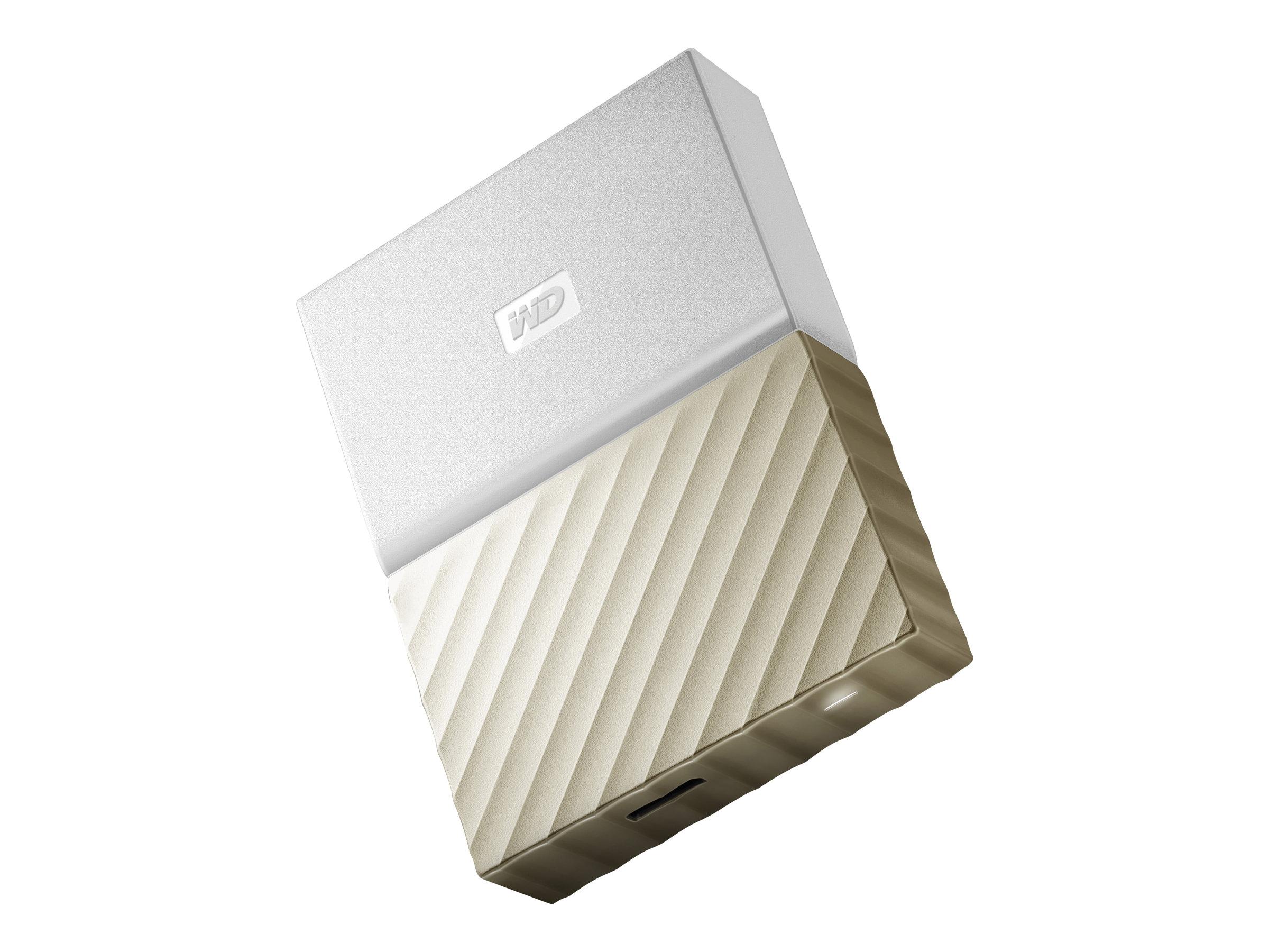 WD My Passport Ultra WDBFKT0040BGD Festplatte - verschlüsselt - 4 TB - extern (tragbar) - USB 3.0 - 256-Bit-AES - Weißgold