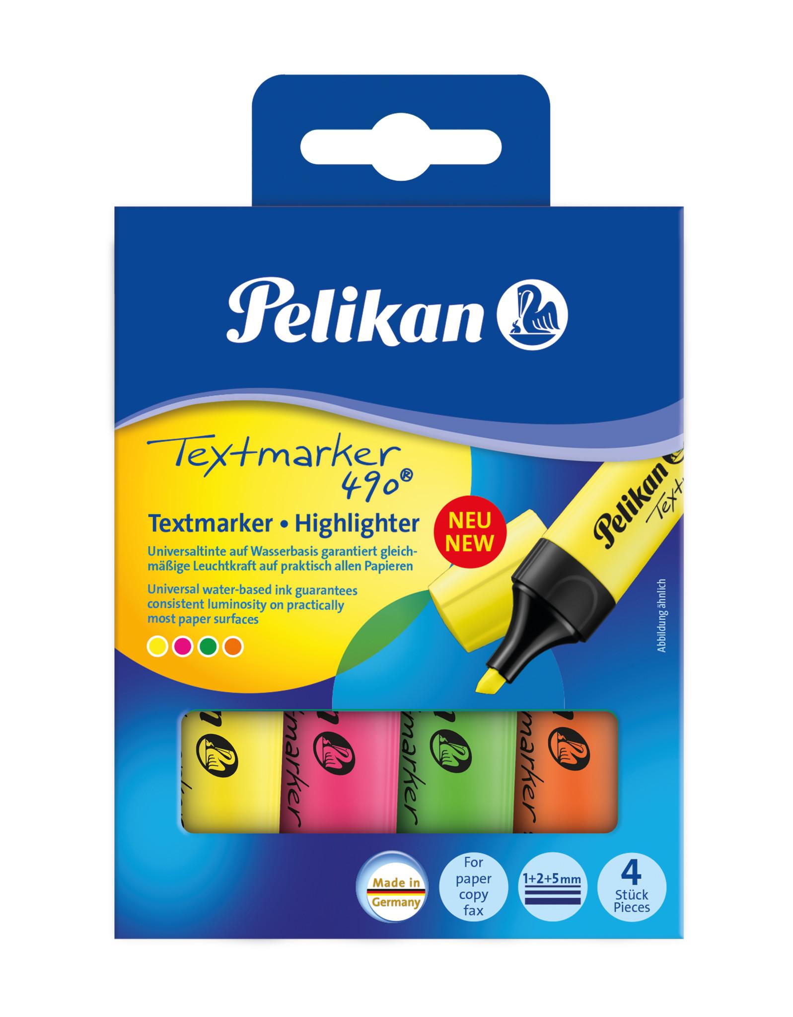 Vorschau: Pelikan Textmarker 490 - 4 Stück(e) - Grün - Orange - Pink - Gelb - Multi - Tinte auf Wasserbasis - Box