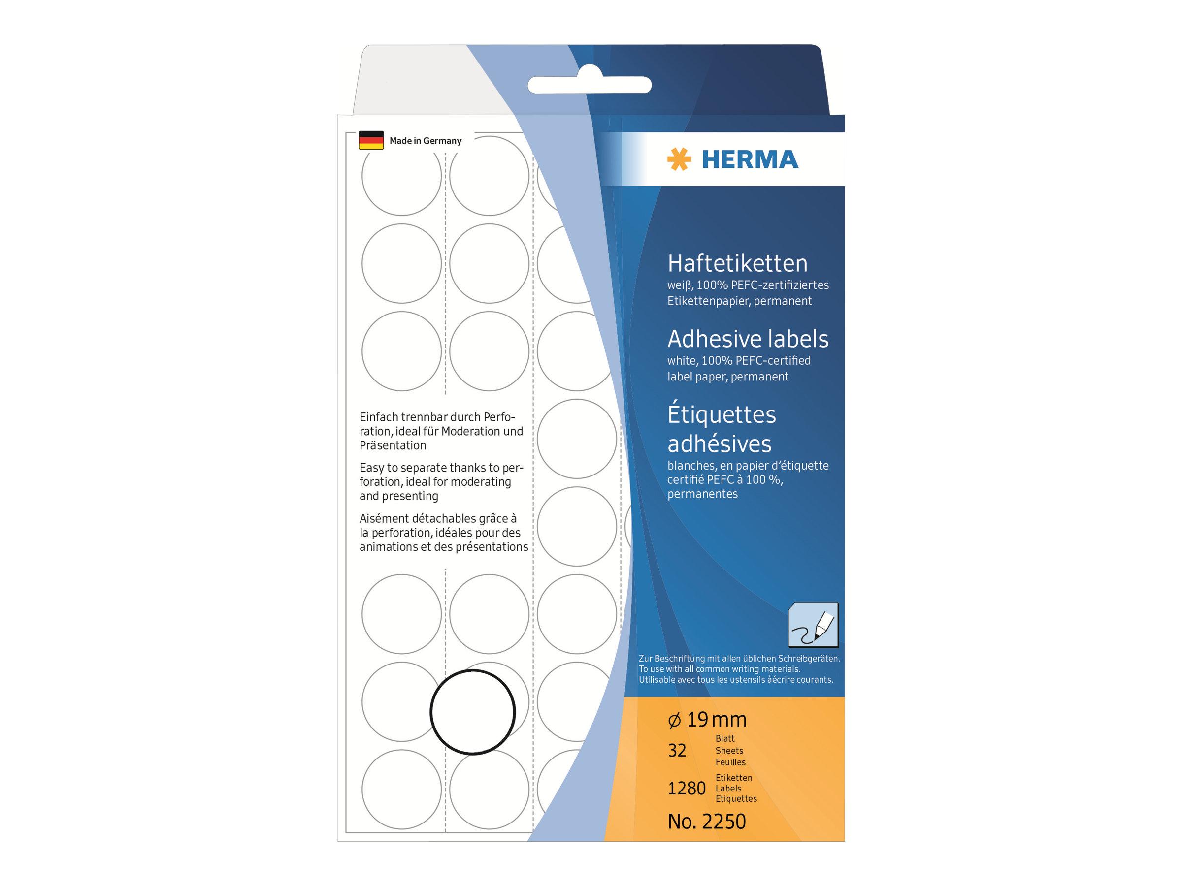 HERMA Permanenter Klebstoff - weiß - 19 mm rund 1280 Etikett(en) (32 Bogen x 40)
