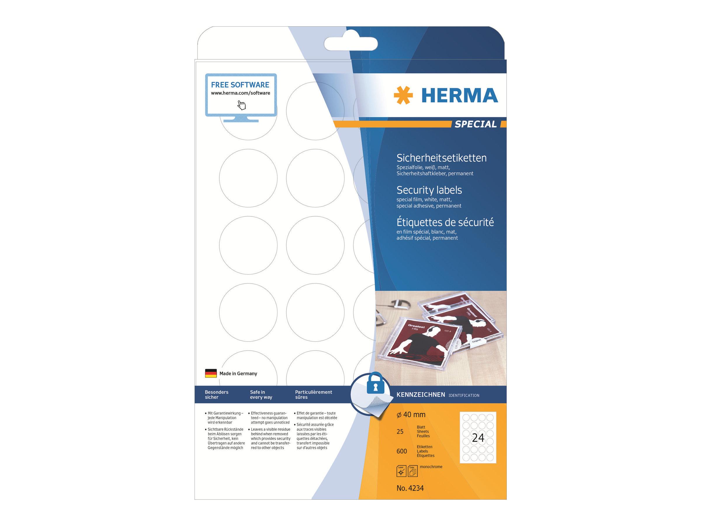 HERMA Special - Weiß - 40 mm rund 600 Etikett(en) (25 Bogen x 24) permanent selbstklebende, matte Etiketten aus Schutz-/Siegelfolie