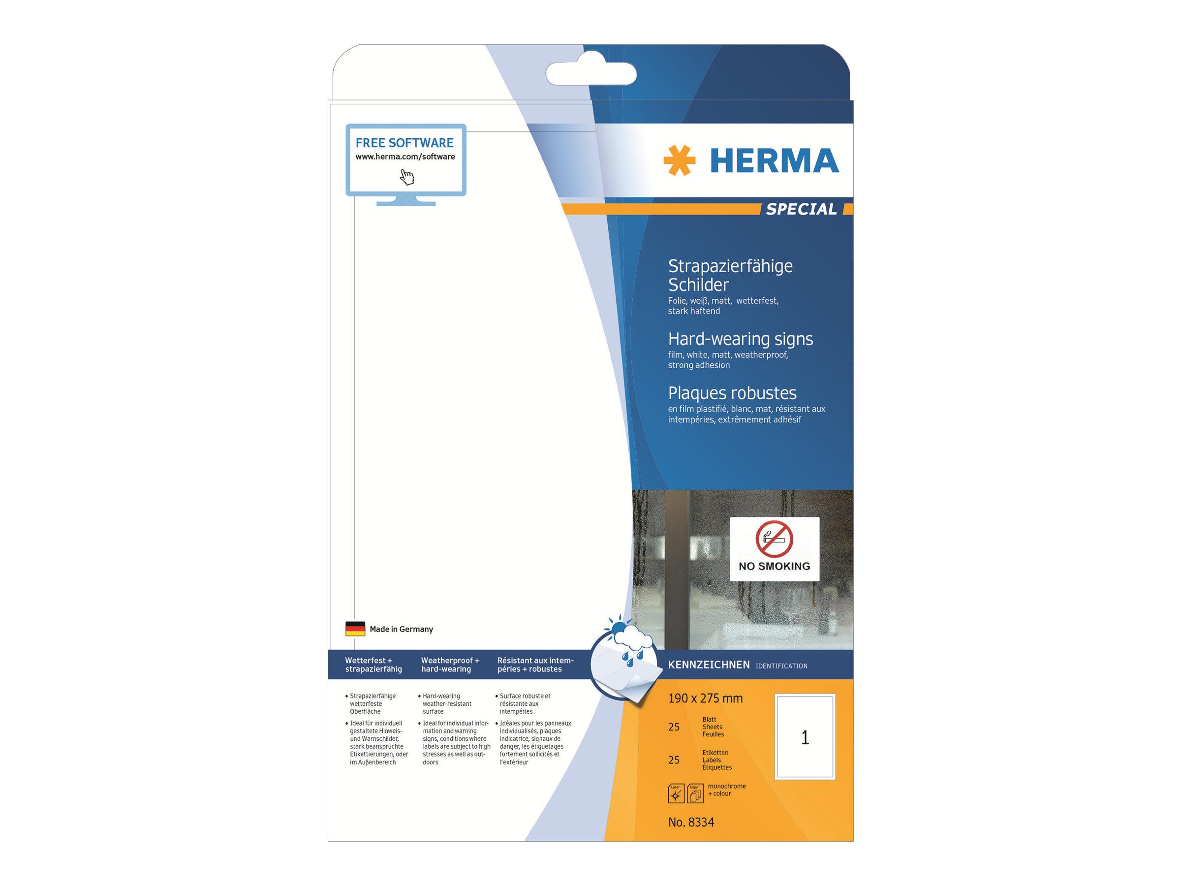 HERMA Special - Selbstklebend - weiß - 190 x 275 mm 25 Stck. (25 Bogen x 1)