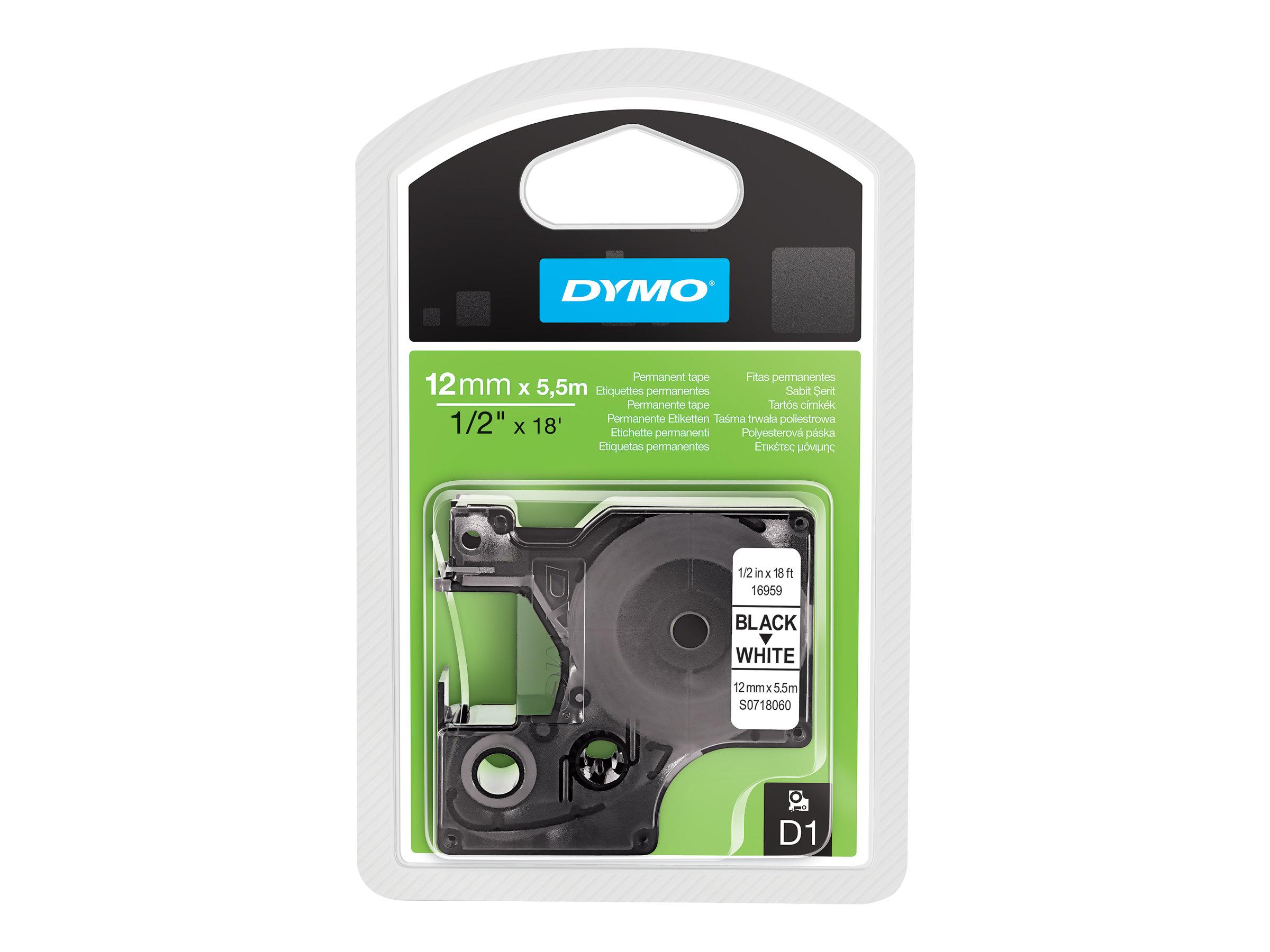 Dymo D1 - Polyester - permanenter Klebstoff - Schwarz auf Weiß - Rolle (1,2 cm x 5,5 m)