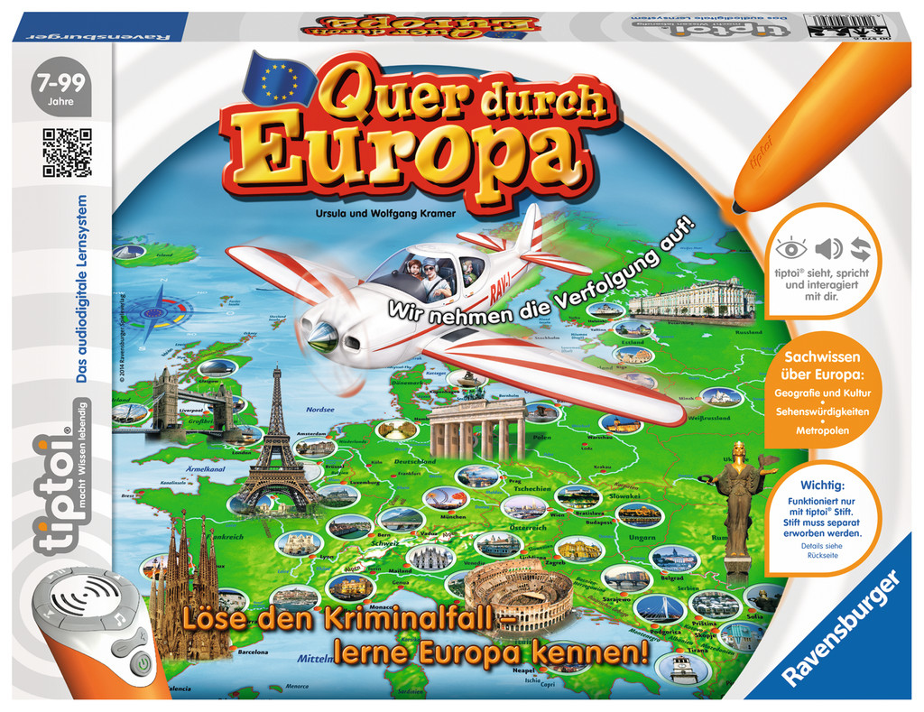 Image of 00 000 579 Ravensburger Quer durch Europa Learning board game 45 min Boy Girl 7