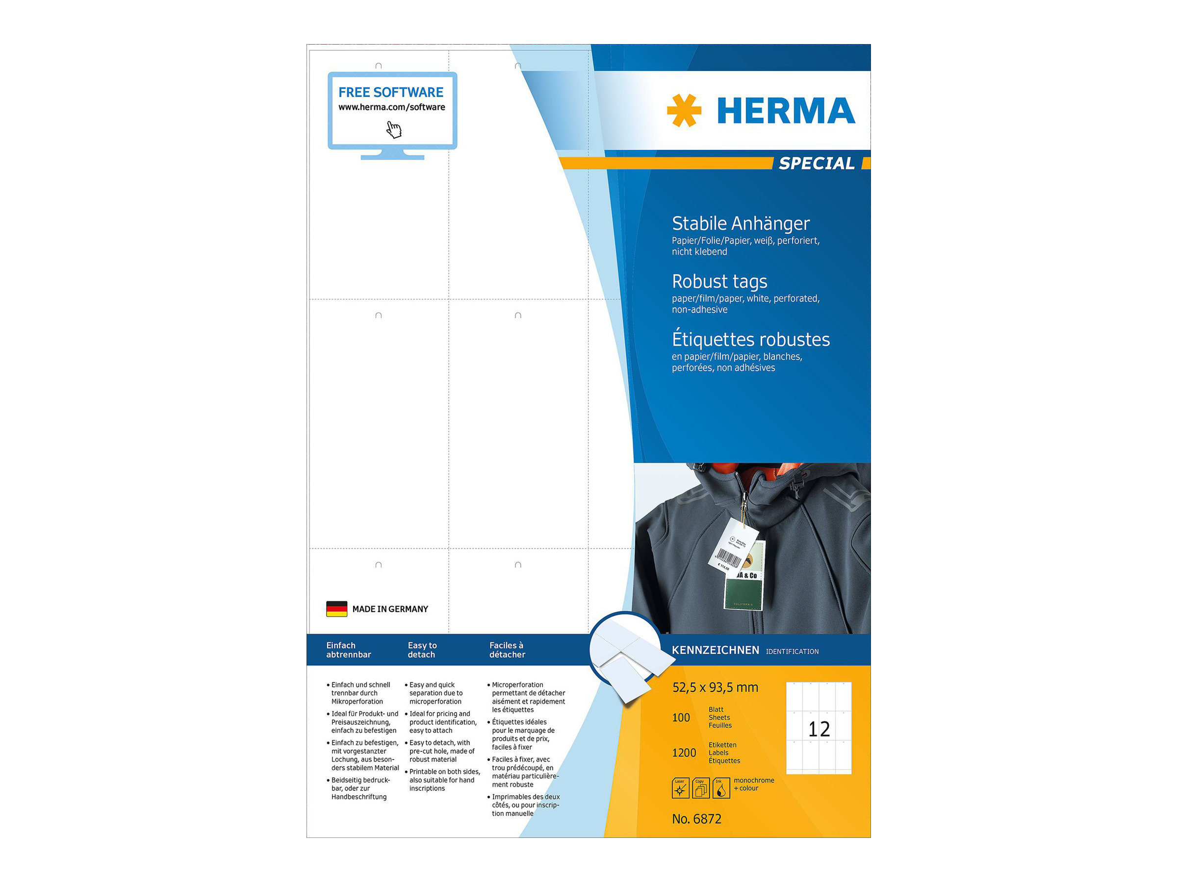 HERMA Special - Nicht klebend - perforiert - weiß - 52.5 x 93.5 mm 1200 Etikett(en) (100 Bogen x 12)