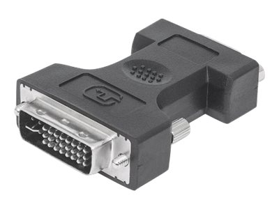 Manhattan DVI-I to VGA HD15 Adapter, Dual Link, Male to Female, Digital Video Adapter, Shielded, Compatible with DVD-D, Lifetime Warranty, Black, Polybag - Display-Adapter - Dual Link - DVI-I (M)