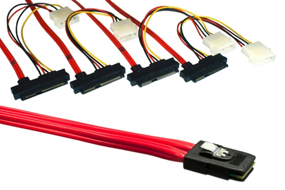 DINIC SAS87FANPW1M 1 m SFF8087 SFF8482 Black,Red