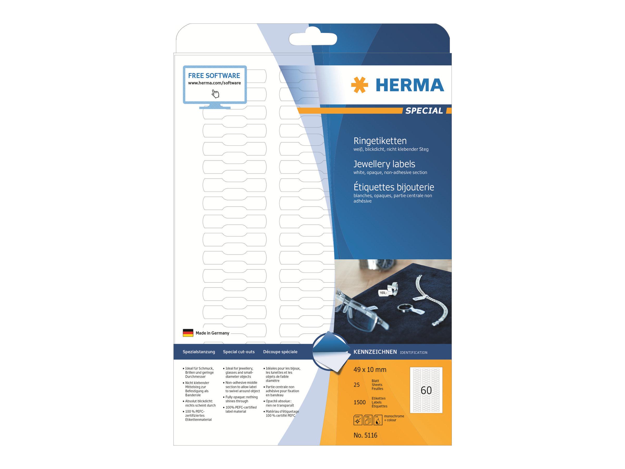 HERMA Special - Weiß - 49 x 10 mm 1500 Etikett(en) (25 Bogen x 60) permanent selbstklebende, matte, lichtundurchlässige Schmucketiketten aus Papier