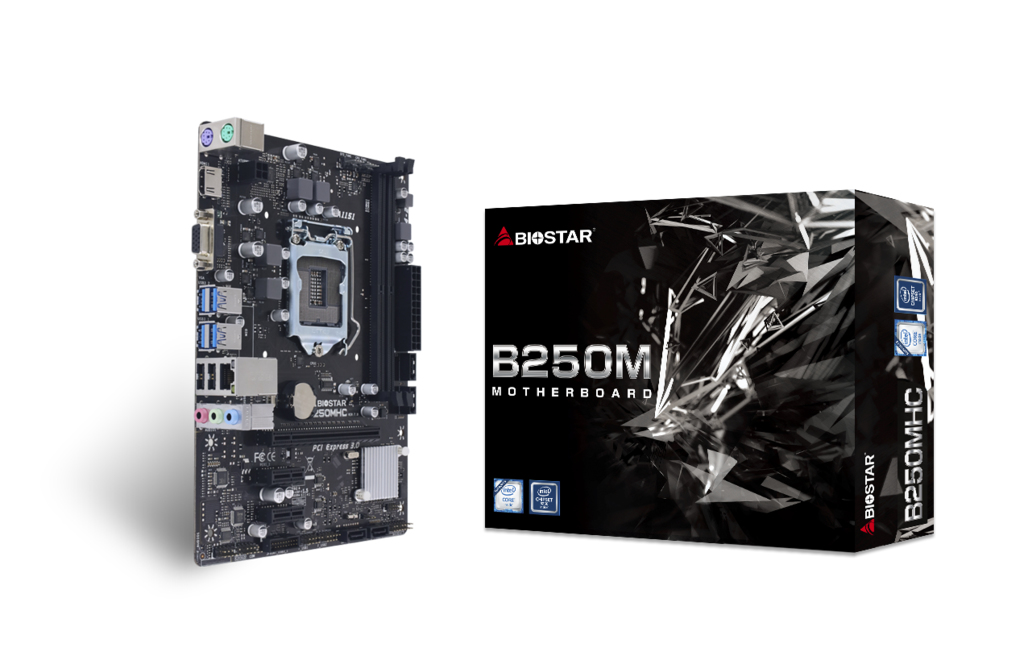 Vorschau: Biostar B250MHC - Intel - LGA 1151 (Socket H4) - Intel® Celeron® - Intel® Core™ i3 - Intel Core i5 - Intel Core i7 - Intel® Pentium® - DDR4-SDRAM - DIMM - 1866,2133,2400 MHz