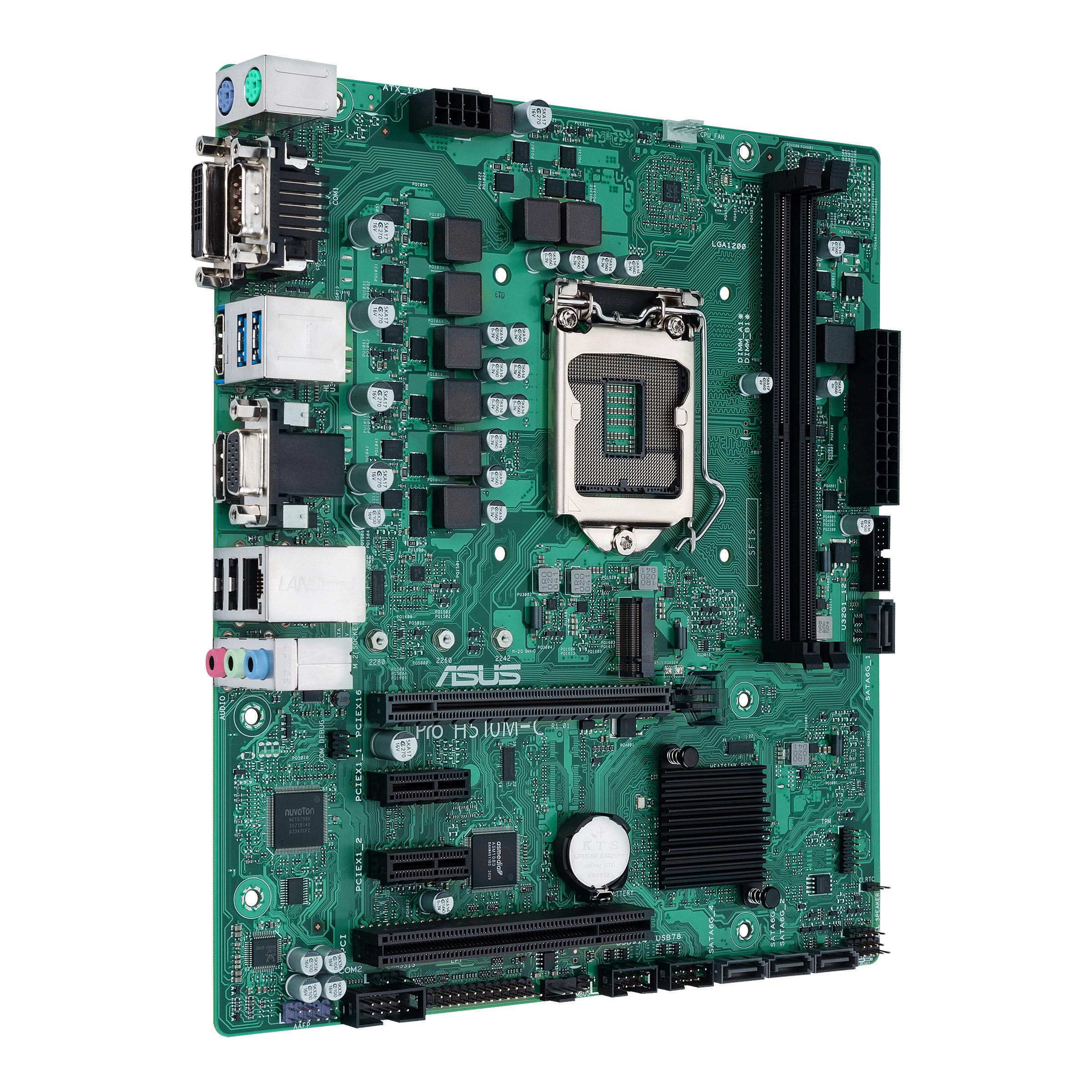 ASUS Pro H510M-C/CSM - Motherboard - micro ATX - LGA1200-Sockel - H510 - USB 3.2 Gen 1 - Gigabit LAN - Onboard-Grafik (CPU erforderlich)