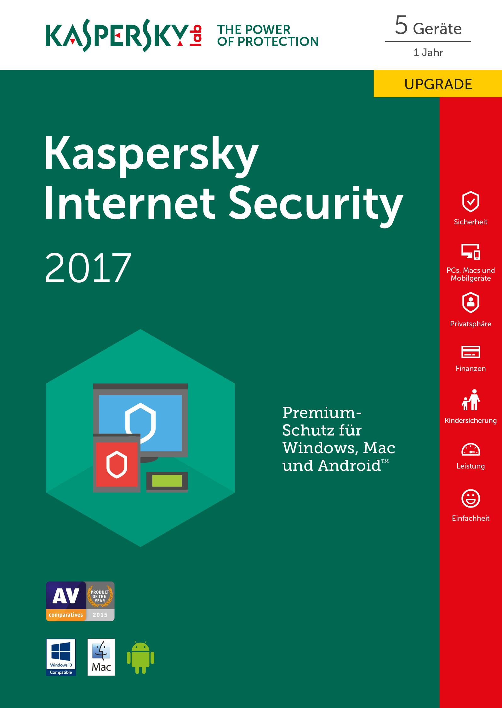 Kaspersky Internet Security 2017 - Box-Pack (Upgrade) ( 1 Jahr ) - 5 Peripheriegeräte ( Sierra )