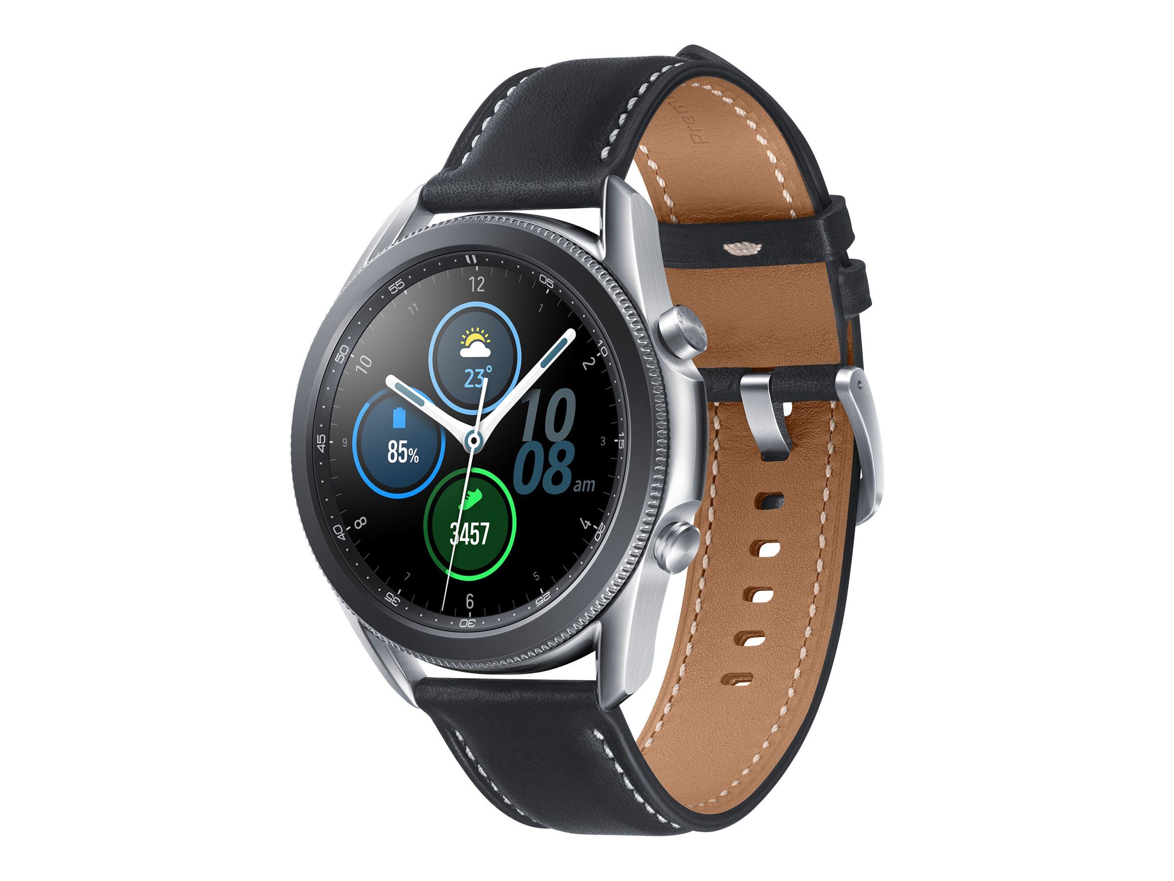 """Samsung Galaxy Watch 3 - 45 mm - mystic silver - intelligente Uhr mit Band - Leder - Anzeige 3.6 cm (1.4"""")"""