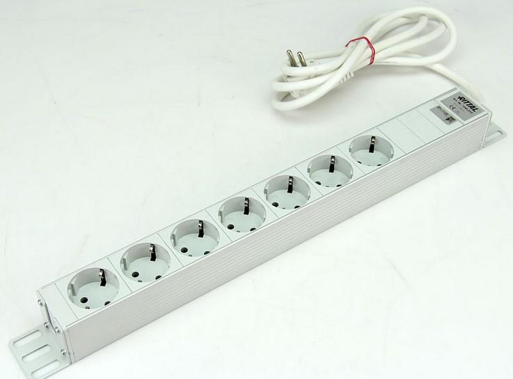 Rittal Steckdosenleiste (Rack - einbaufähig) - Eingabe, Eingang Stromversorgung - Ausgangsanschlüsse: 7 (Stromversorgung)
