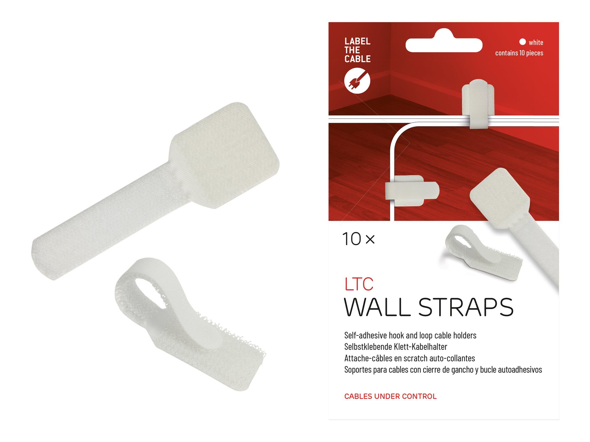 Label-the-cable LTC WALL STRAPS - Kabelhalter - Oberfläche montierbar, geeignet für Wandmontage - 9 cm - weiß (Packung mit 10)