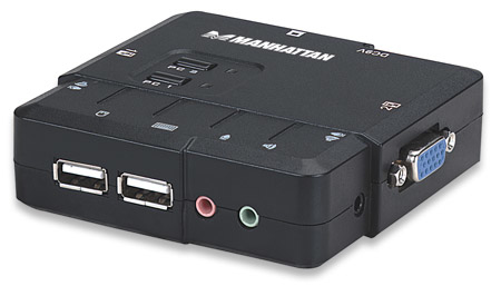 Manhattan 2 Port Compact KVM Switch - KVM-/Audio-Switch - USB