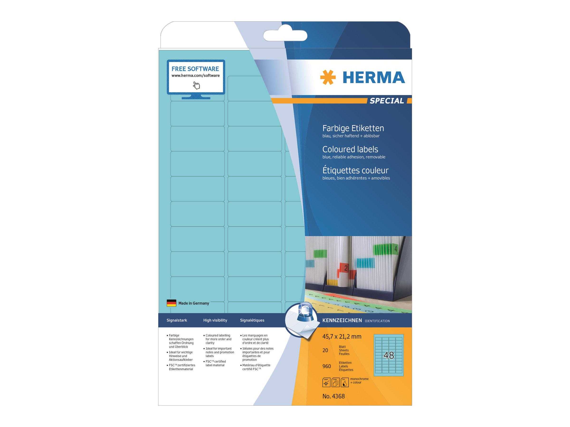 HERMA Special - Papier - matt - permanent selbstklebend - Blau - 45.7 x 21.2 mm 960 Etikett(en) (20 Bogen x 48)