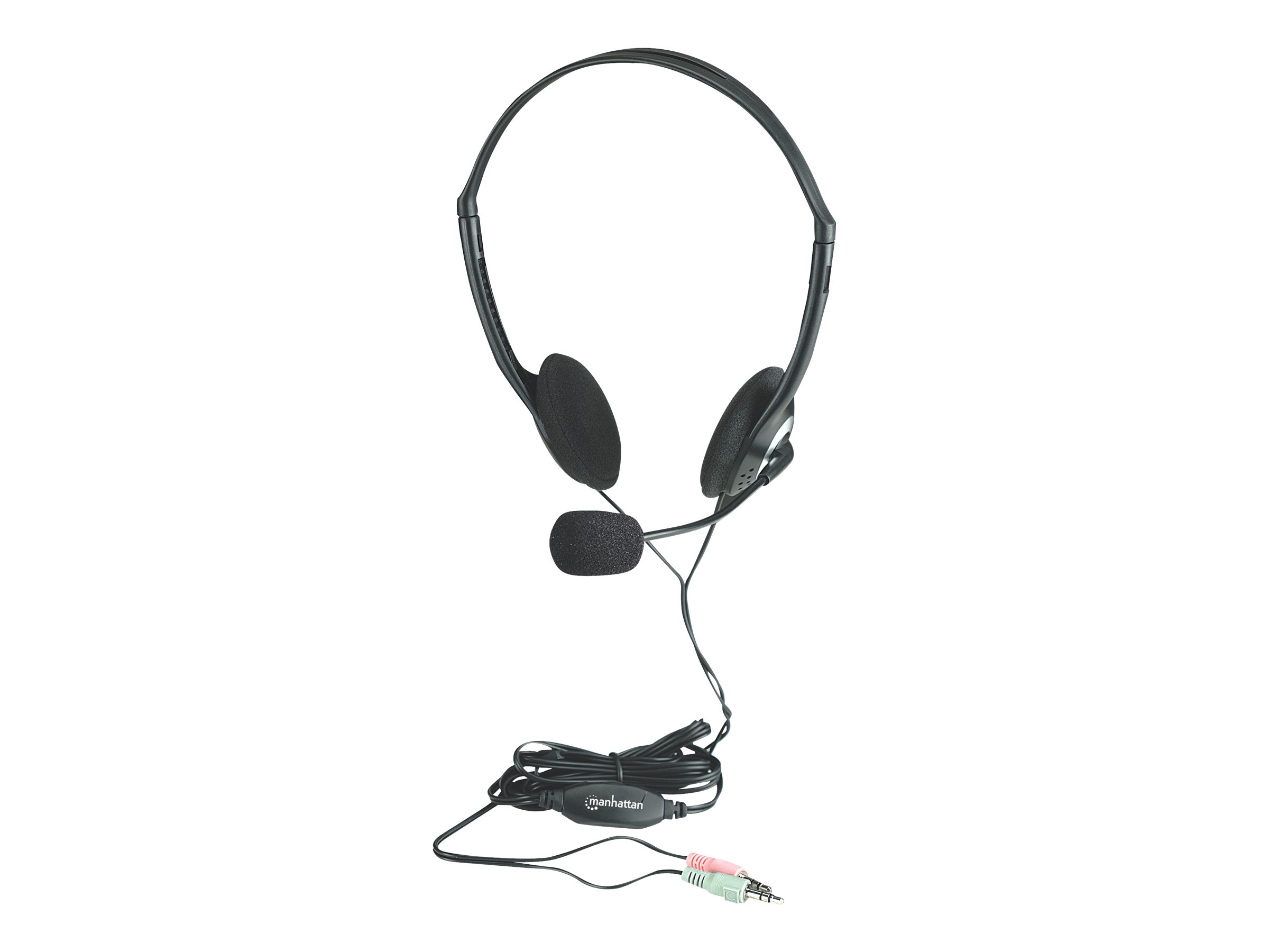 Manhattan Stereo Headset, Lightweight, Adjustable Microphone, In-Line Volume Control, Foam Earpads, 2x 3.5mm stereo jacks/plugs, cable 2m, Black, Three Year Warranty, Blister