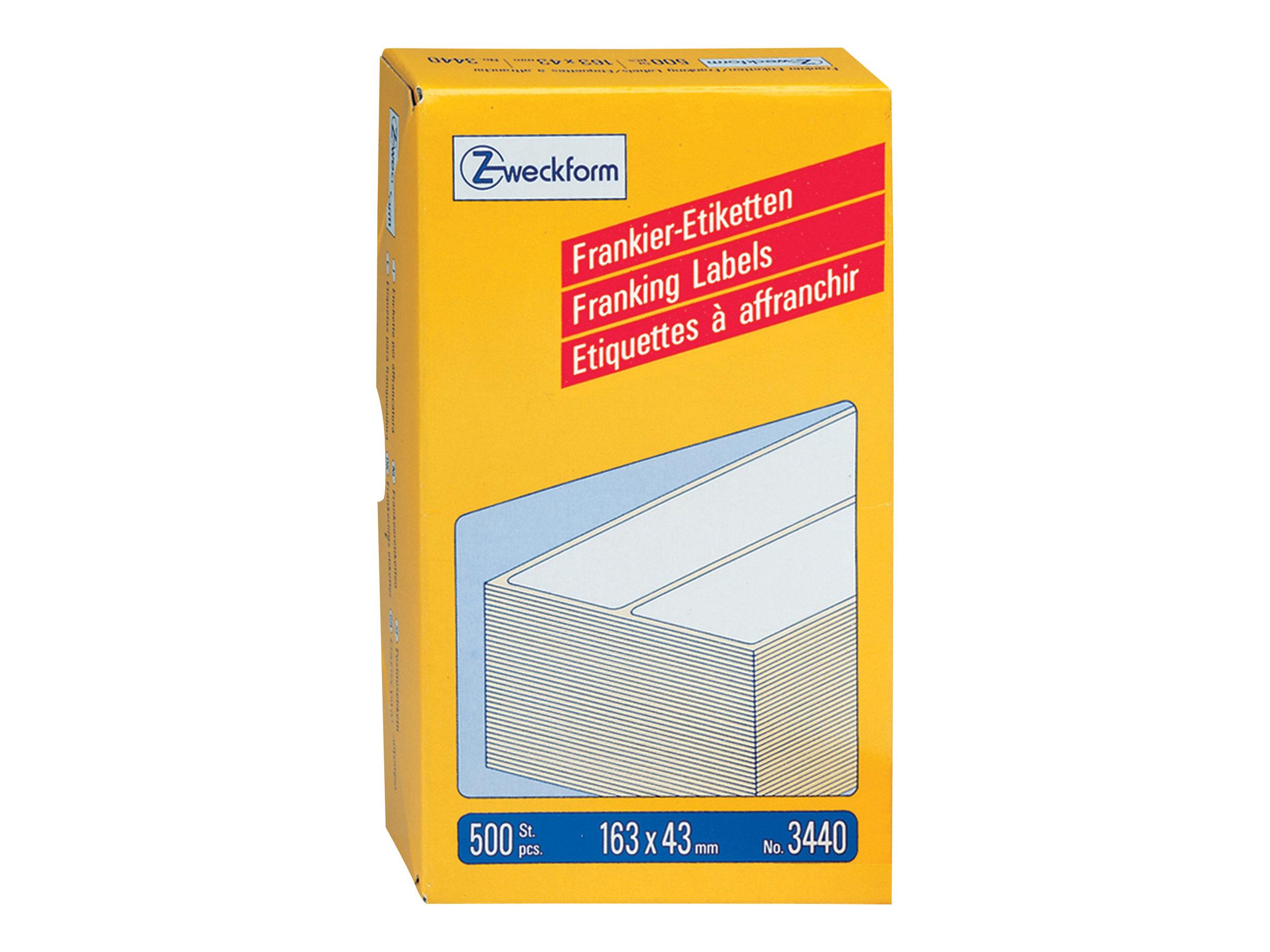 Avery Zweckform Permanenter Klebstoff - weiß - 163 x 43 mm 500 Etikett(en) (250 Bogen x 2)