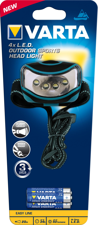 Varta 16630 101 421 - Stirnband-Taschenlampe - Schwarz - Blau - LED - 4 - 50 - 20 m - AAA