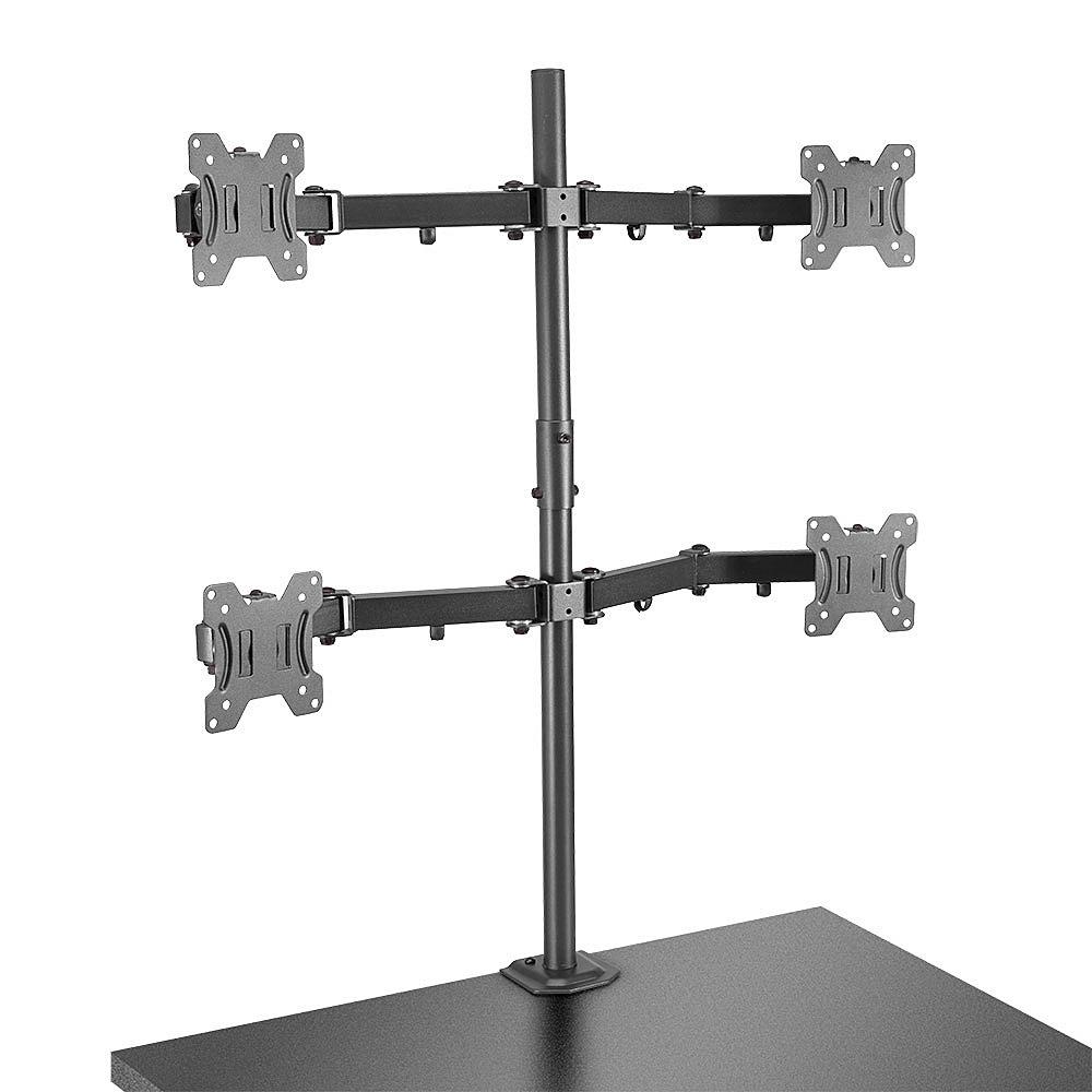 Lindy Quad Display Bracket w/ Pole & Desk Clamp - Tischhalterung für 4 Monitore (einstellbarer Arm)