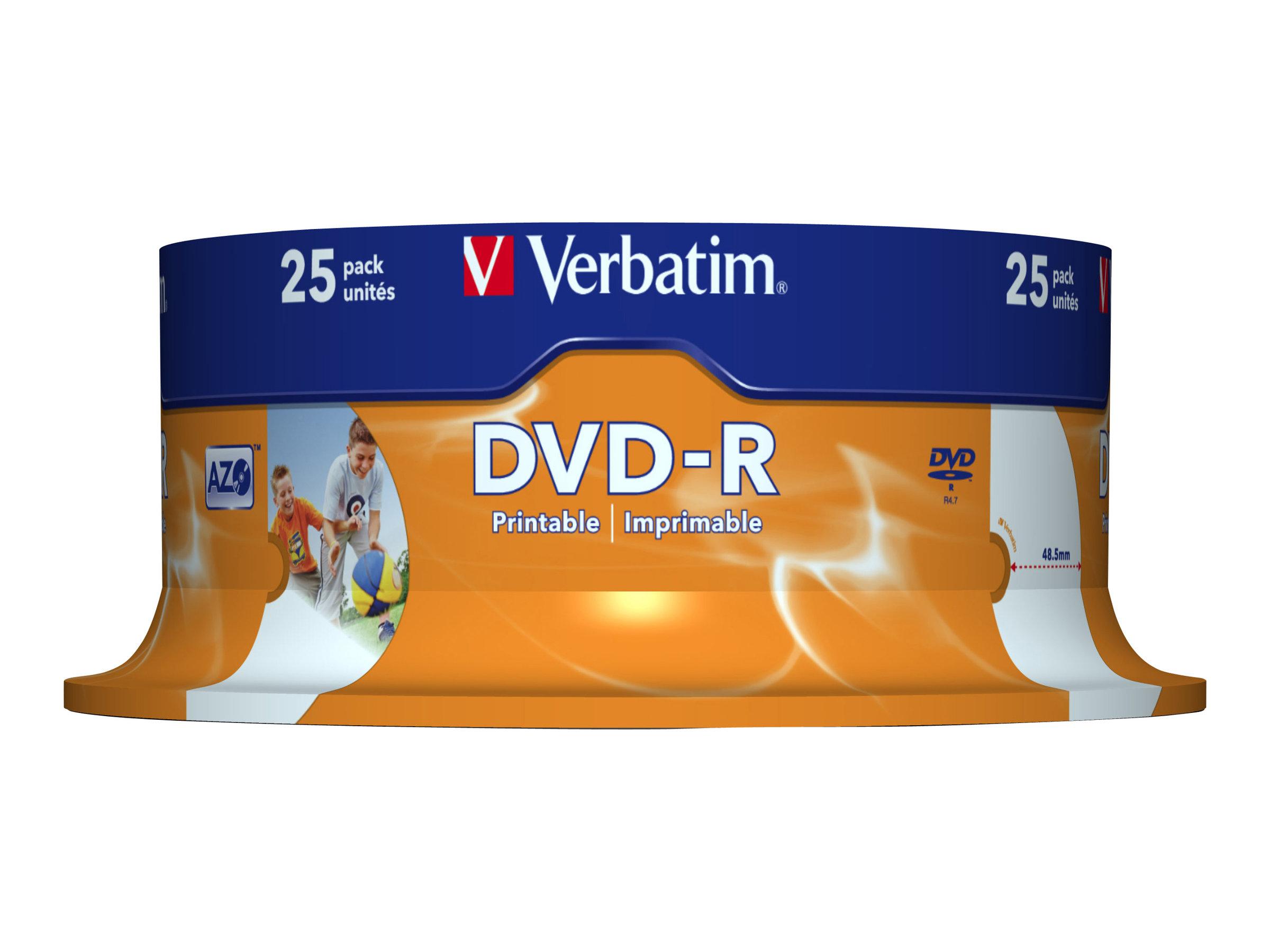 Verbatim 25 x DVD-R - 4.7 GB 16x - breite bedruckbare Fläche für Fotos