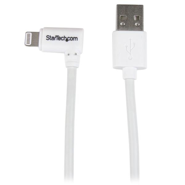 StarTech.com 1m 3 ft Angled Lightning to USB Cable - White - Lightning-Kabel