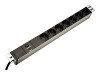 """19"""" Outlet Strip Spannungsschutz 7 AC-Ausgänge 250 2 m Schwarz"""