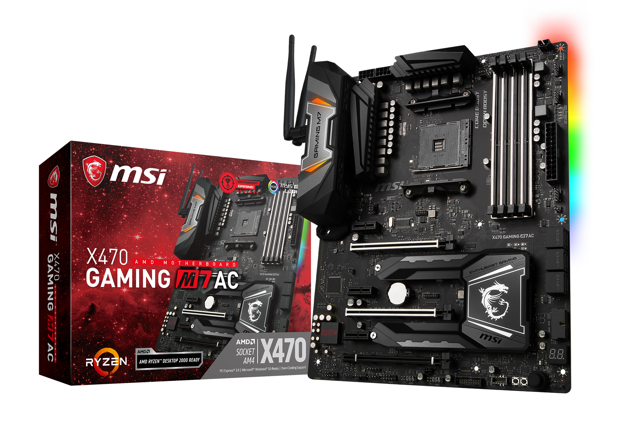 MSI 7B77-001R X470 Gaming M7 AC AMD X470 Socket AM4 ATX Chipset - 4 x DDR4 up