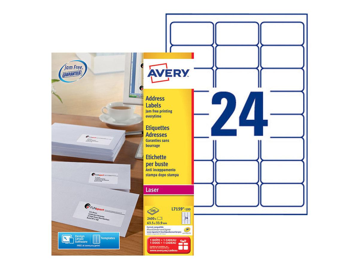 Avery Zweckform  Weiß - 63.5 x 33.9 mm 2400 Etikett(en) (100 Bogen x 24)