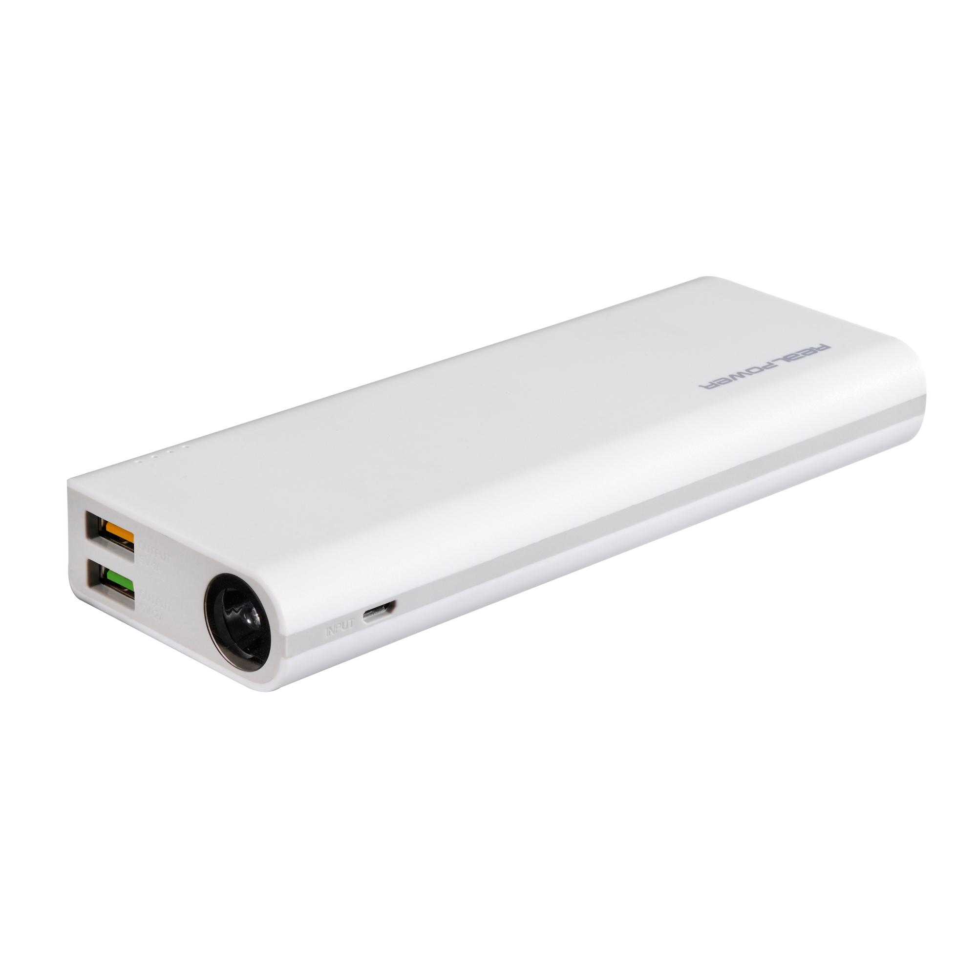 RealPower PB-12000 - Weiß - Universal - Rechteck - Lithium-Ion (Li-Ion) - 12000 mAh - USB