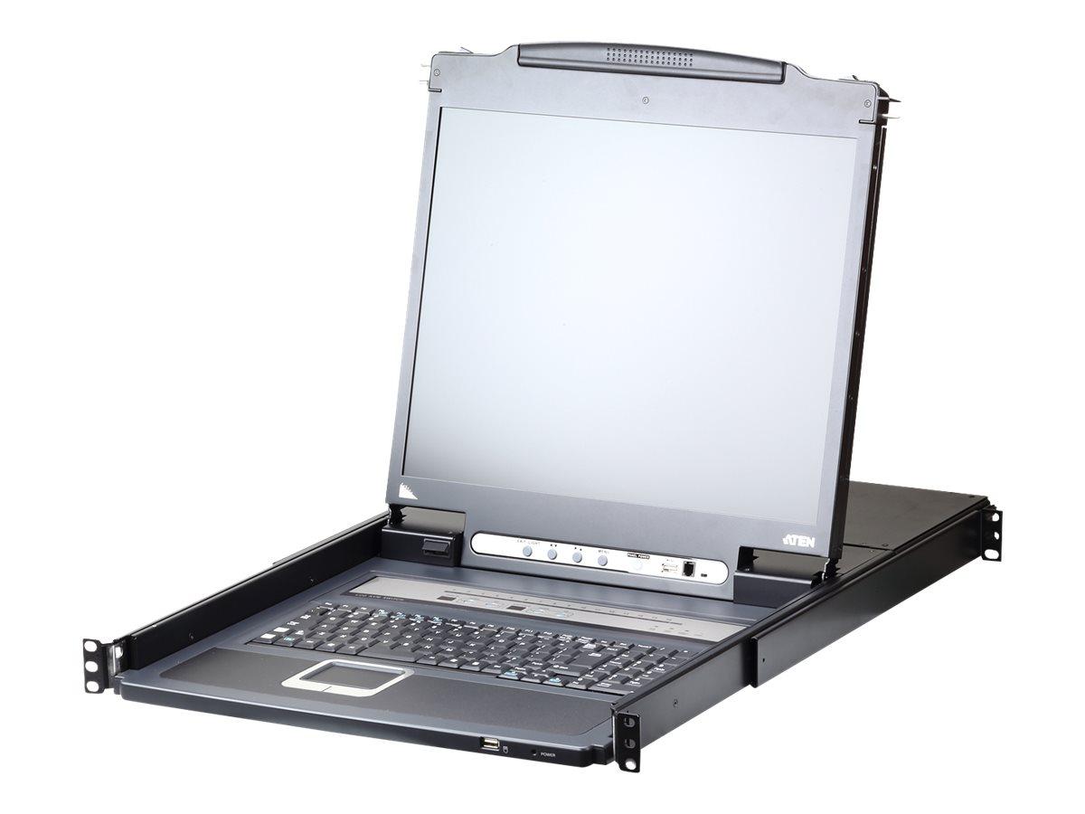 "ATEN LCD KVM Switches CL5716iN - KVM-Konsole mit KVM-Switch - 16 Anschlüsse - PS/2, USB - Englisch - 48.3 cm (19"")"