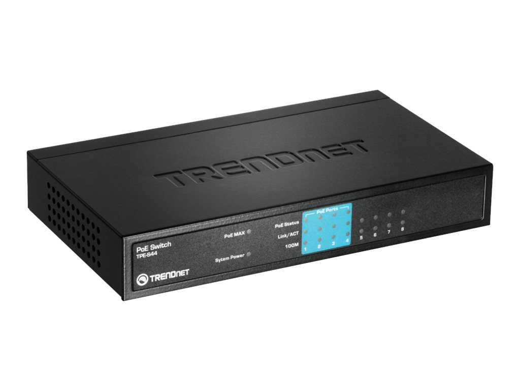 TRENDnet TPE-S44 - Switch - 4 x 10/100 (PoE) + 4 x 10/100