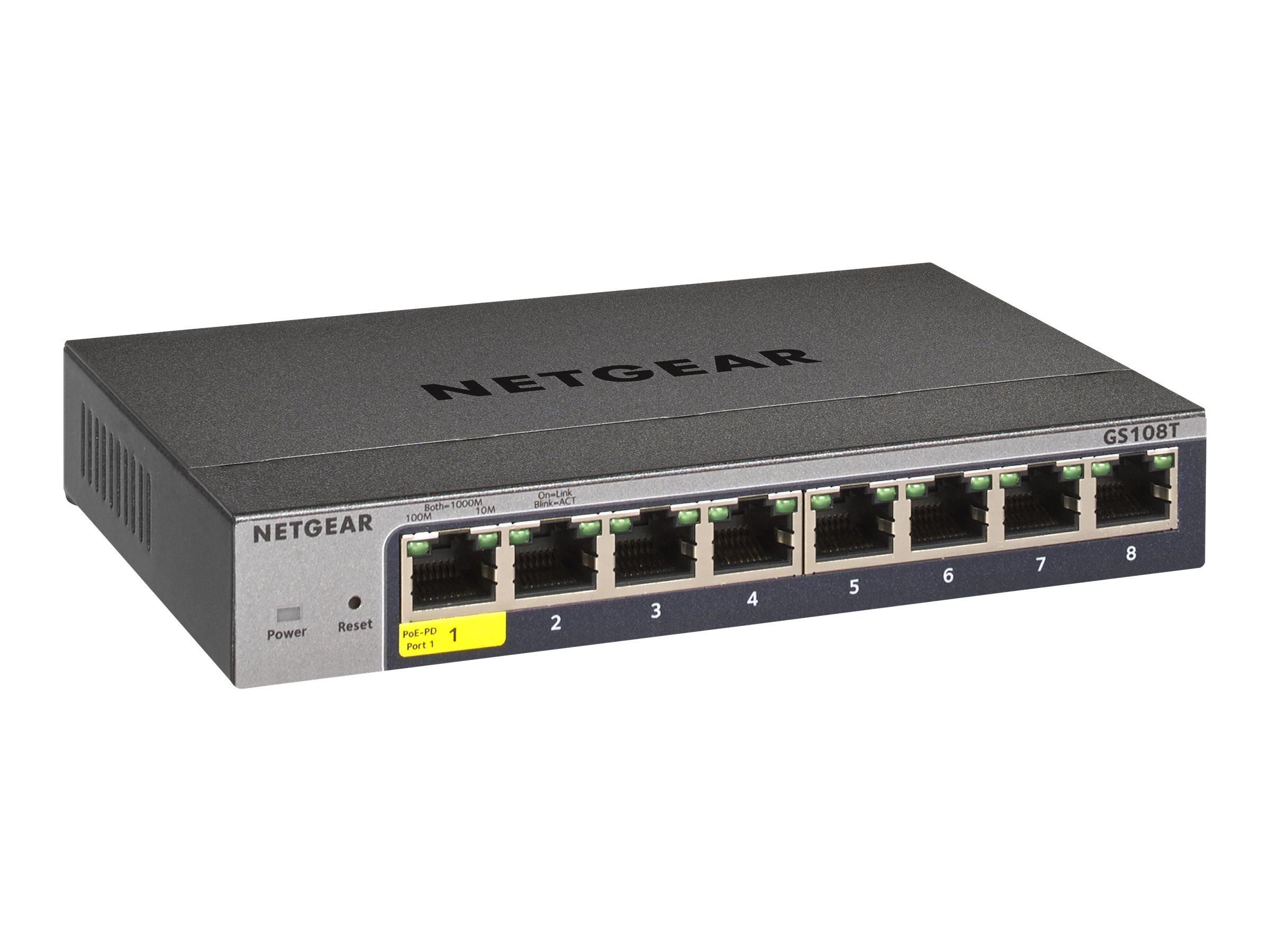 Netgear Pro GS108Tv3 - Switch - Smart - 8 x 10/100/1000