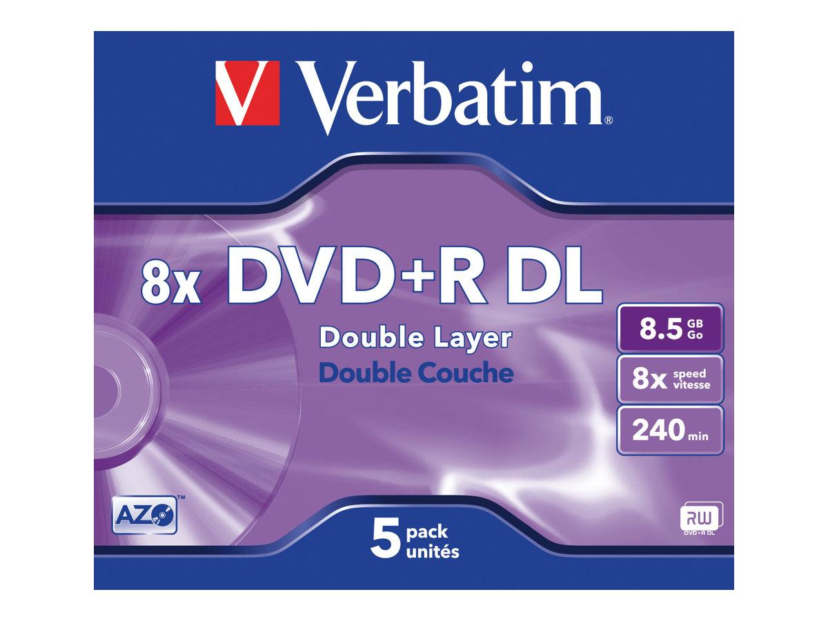 Verbatim 5 x DVD+R DL - 8.5 GB (240 Min.) 8x - mattsilber - Jewel Case (Schachtel)