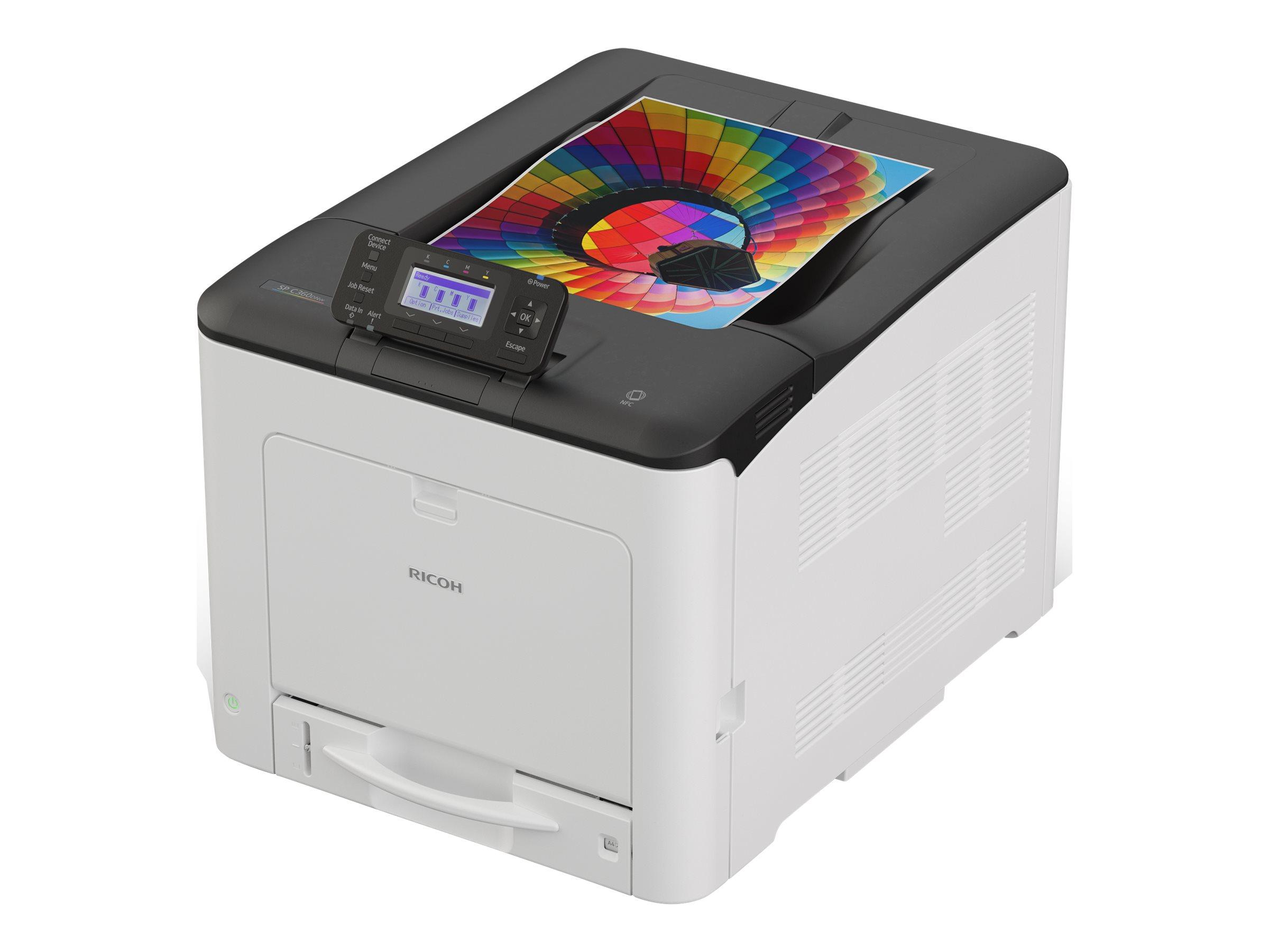 Ricoh SP C360DNw - Drucker - Farbe - Duplex - LED - A4 - 2400 x 600 dpi - bis zu 30 Seiten/Min. (einfarbig)/