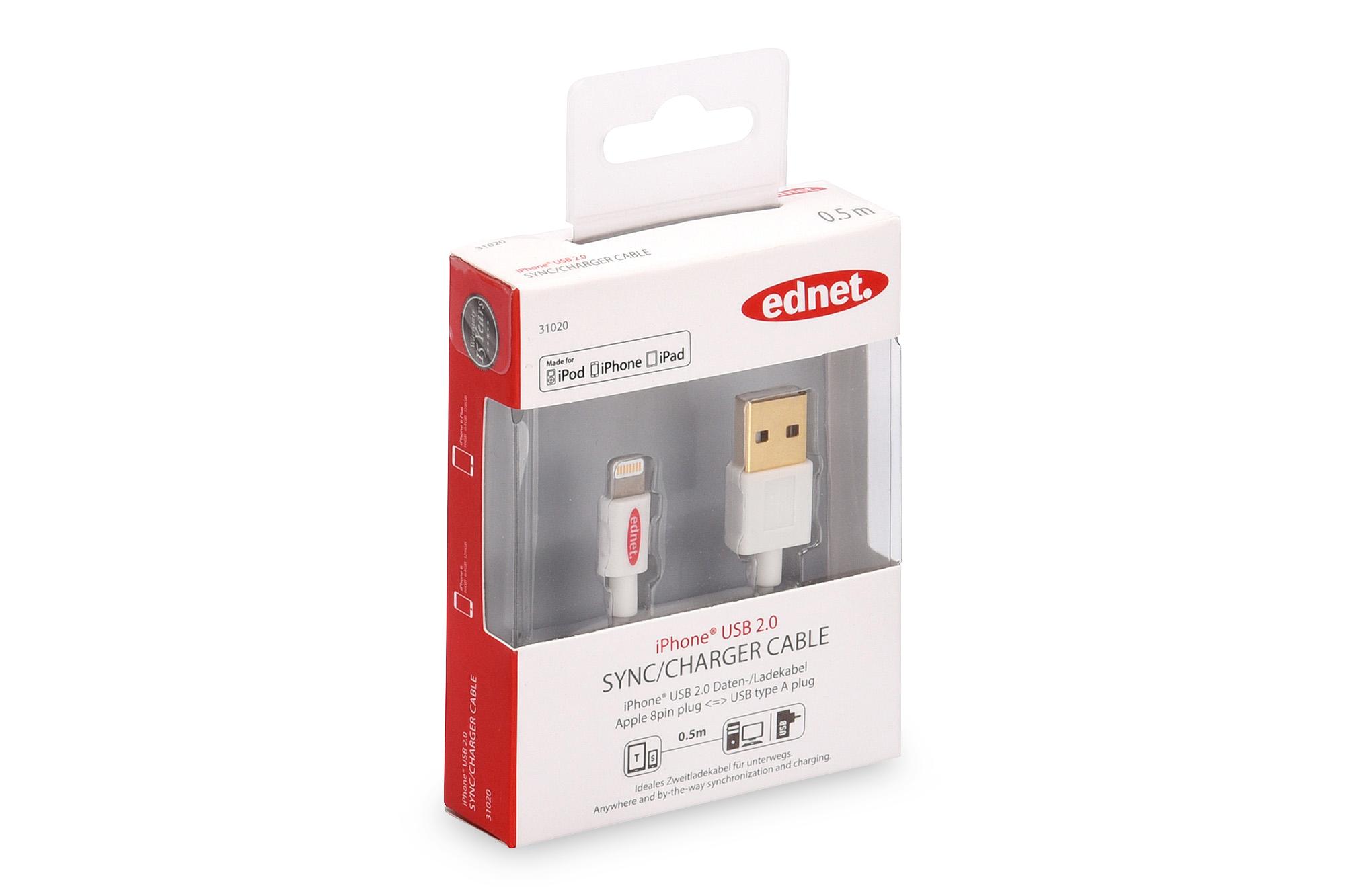 Assmann iPhone® Lightning-USB Daten-/Ladekabel, weiß