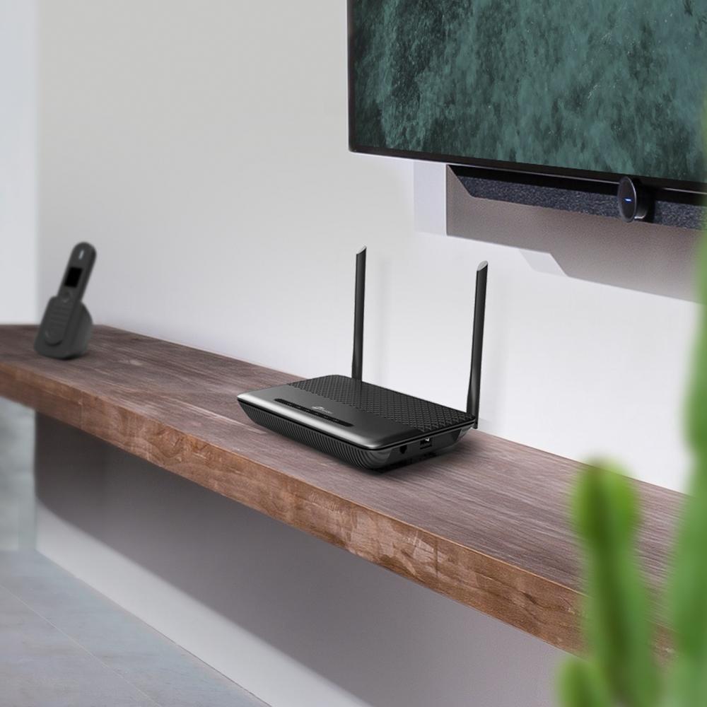 TP-LINK TD-W9960v - Wireless Router - DSL-Modem - 4-Port-Switch - 802.11b/g/n - 2,4 GHz - VoIP-Telefonadapter (DECT)