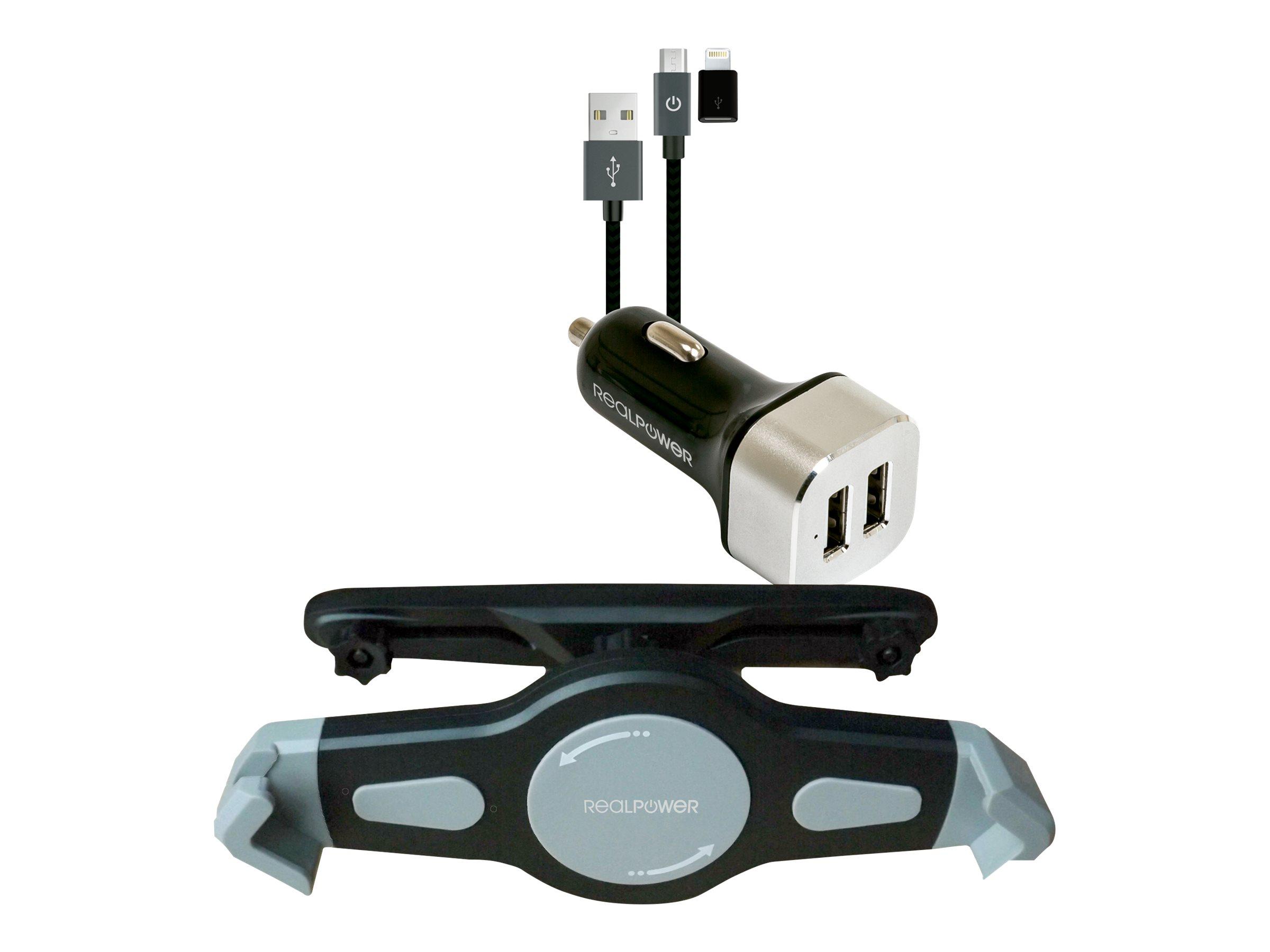 Ultron Realpower Tablet Car Set - Auto-Netzteil - 2.4 A - 2 Ausgabeanschlussstellen (2 x USB)
