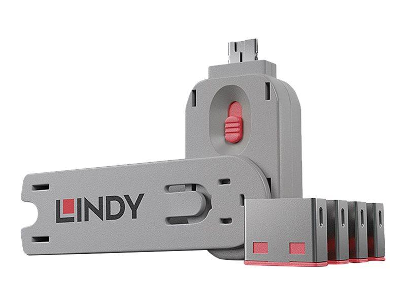 Lindy USB Port Blocker - USB-Portblocker - pink (Packung mit 4)