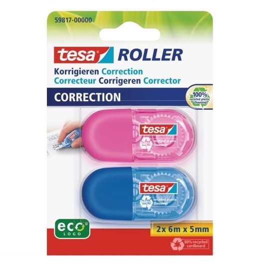 Tesa Roller Korrigieren ecoLogo - Blau - Pink - 6 m - 5 mm - 100% - Sichtverpackung - 2 Stück(e)