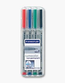 STAEDTLER Universalstift Lumocolor non-permanent F 4er Box - 1 Stück(e) - Schwarz - Blau - Grün - Rot - Grau - Polypropylen (PP) - 0,6 mm