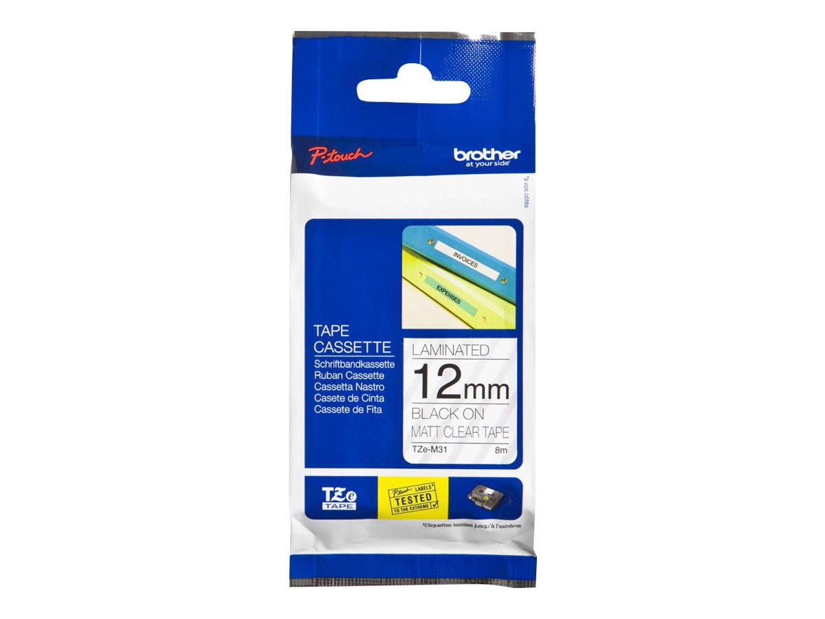 Brother TZeM31 - Schwarzer Druck auf Premium Matt Transparent - Rolle (1,2 cm x 8 m)