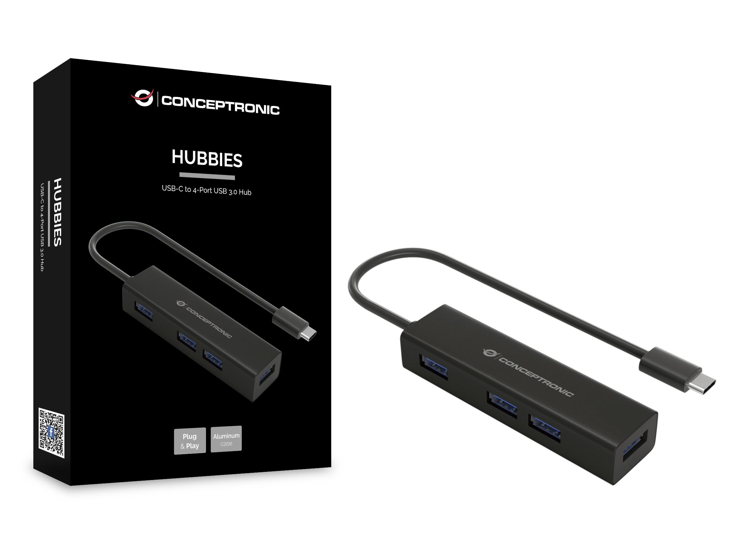 Conceptronic HUBBIES07B - Hub - 4 x SuperSpeed USB 3.0