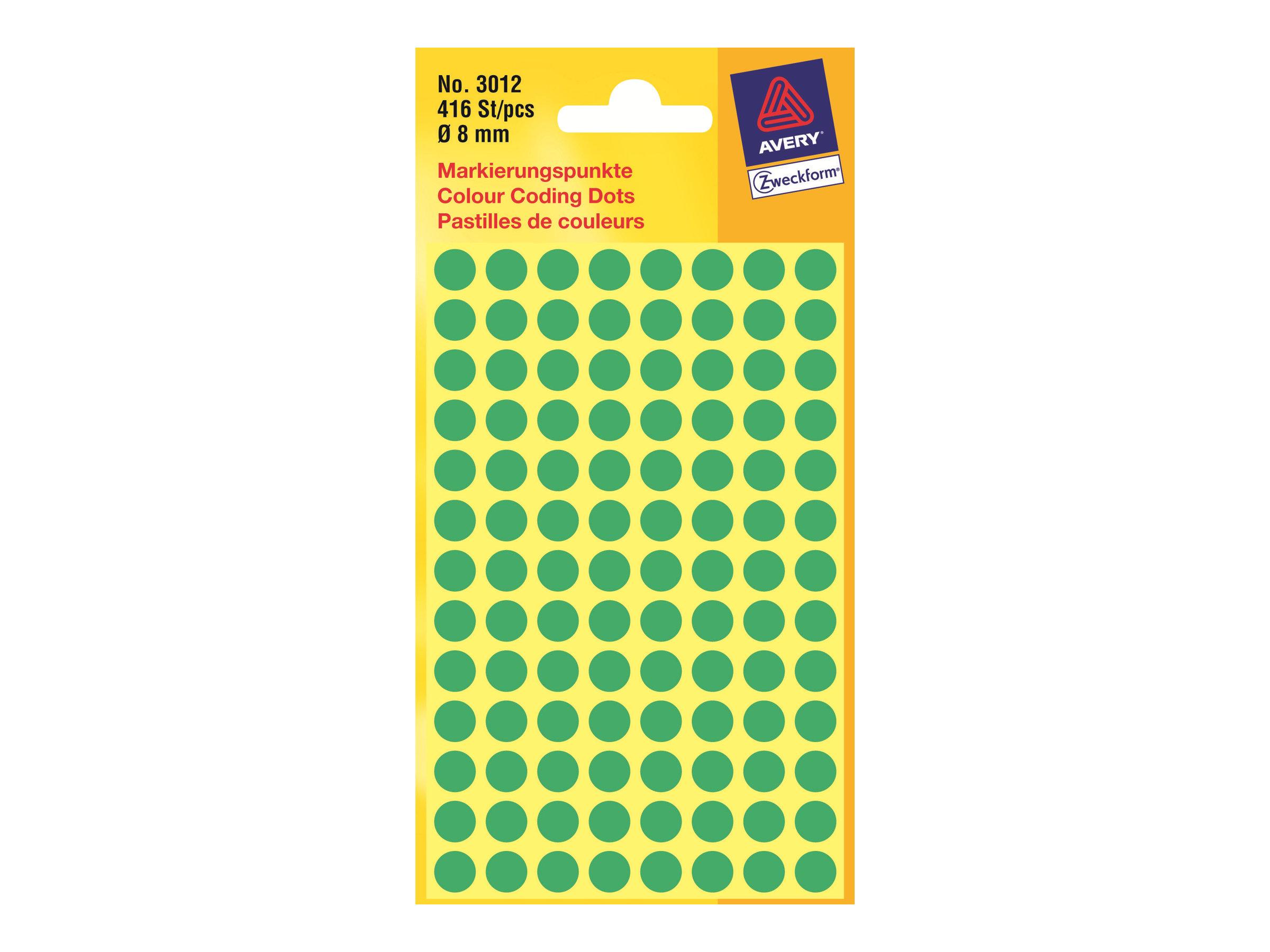 Avery Zweckform  Grün - 8 mm rund 416 Etikett(en) (4 Bogen x 104) Etiketten