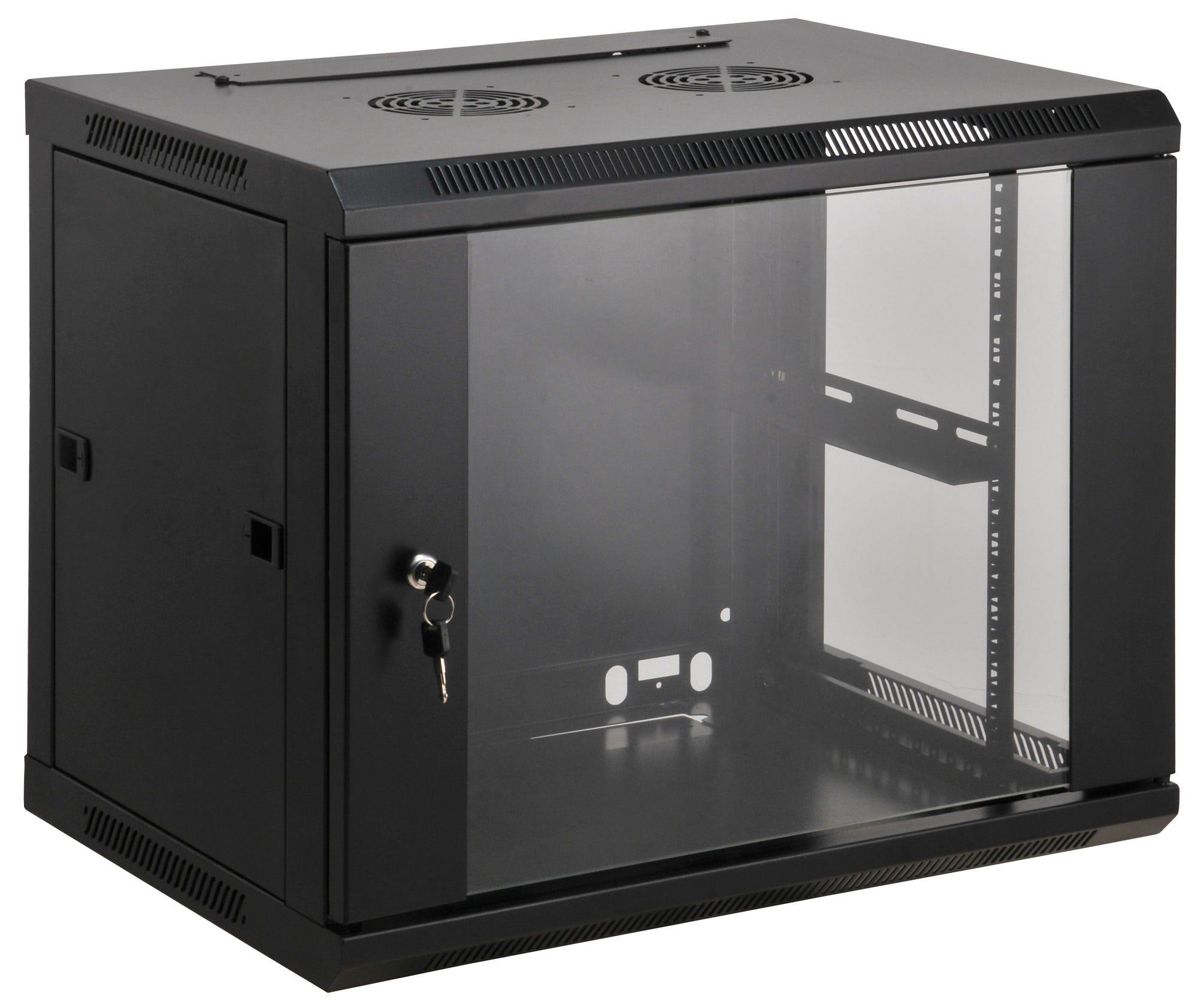 Intellinet 712071 - 9U - Wandmontiertes Regal - 60 kg - Schwarz - Geschlossen - Glas