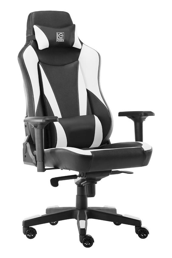 LC Power LC-GC-701BW - Gepolsterter Sitz - Gepolsterte Rückenlehne - Schwarz - Weiß - Schwarz - Weiß - Metall - Kunststoff - Kunstleder - Schaum