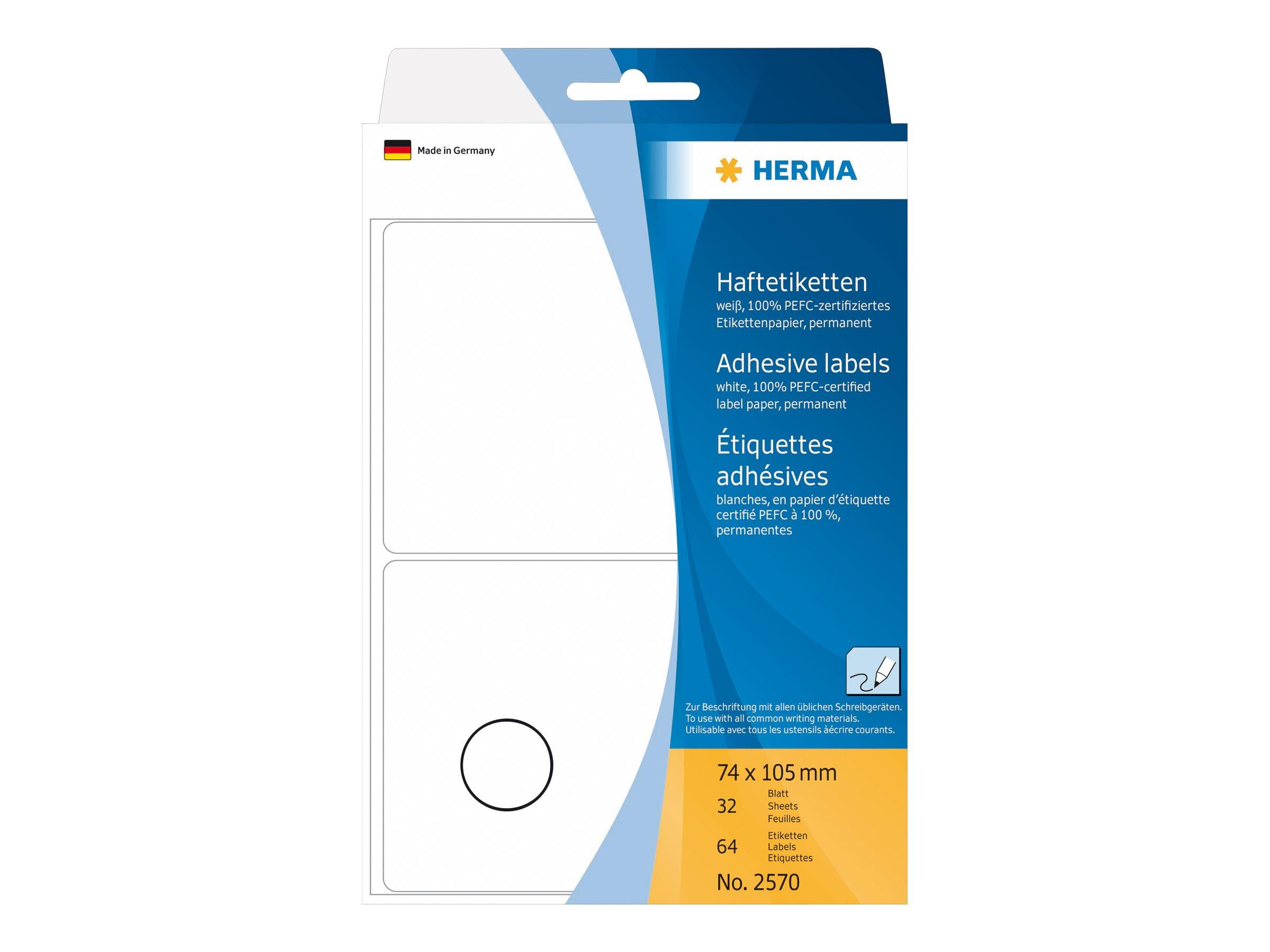 HERMA Papier - matt - permanenter Klebstoff - weiß - A7 (74 x 105 mm)