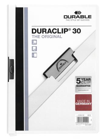 Durable Klemm-Mappe Duraclip Original 30 weiß - Bürokleinmaterial - A4