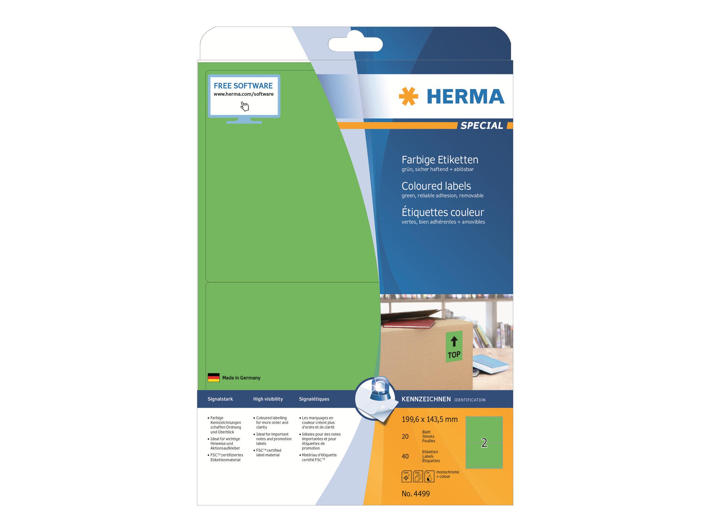 HERMA Special - Papier - permanent selbstklebend - grün - 199.6 x 143.5 mm 40 Stck. (20 Bogen x 2)