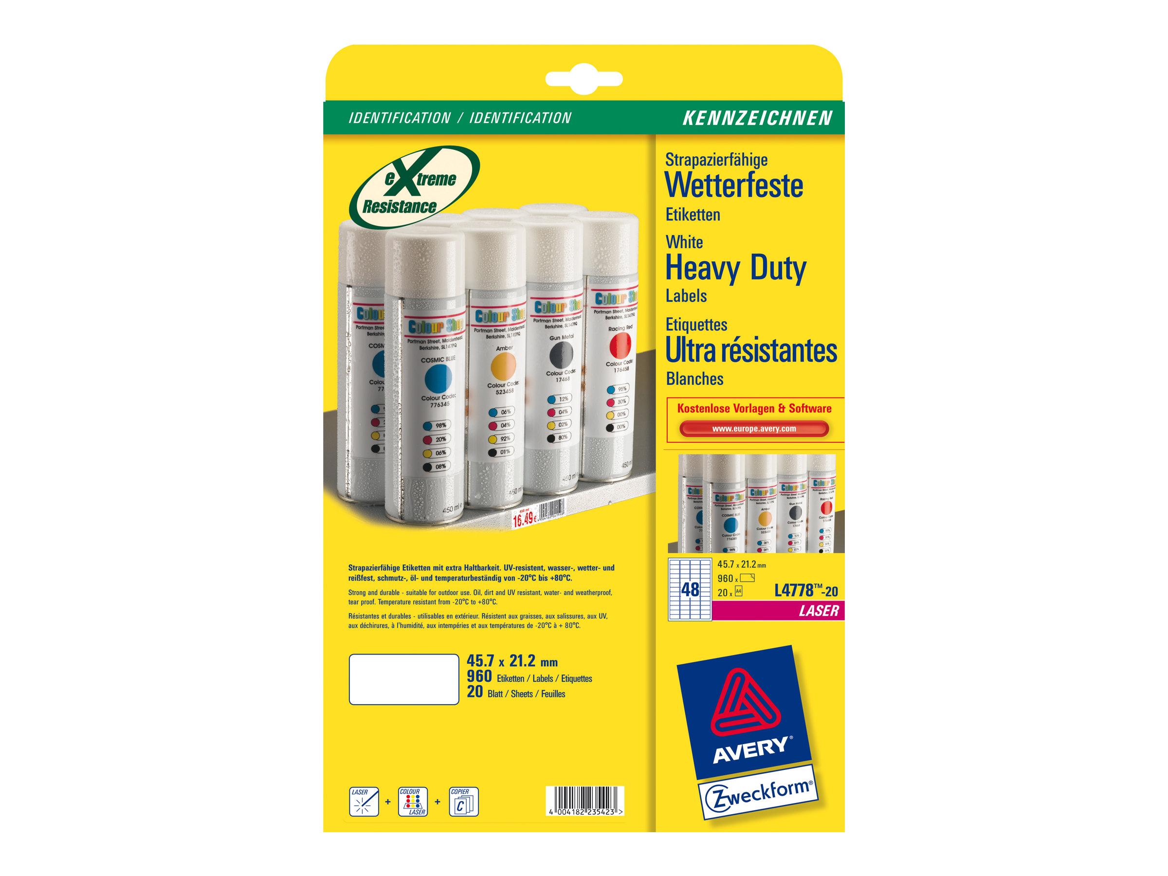 Avery Zweckform Heavy Duty Laser Labels